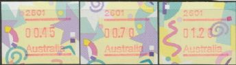Australian Framas: Festive Button Set 45c, 70c, $1.20: Post Code 2601 Canberra